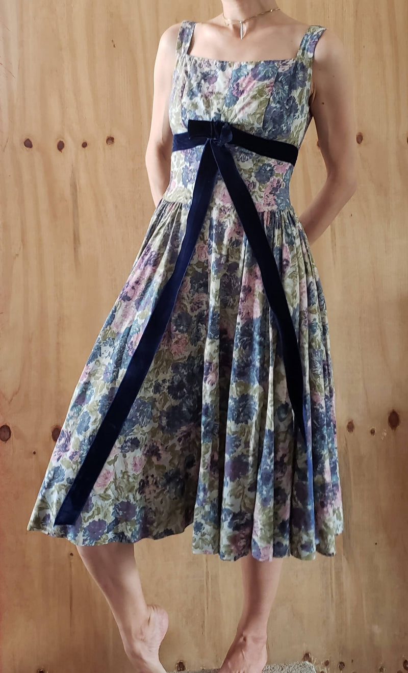 50s Nona New York Dress Empire Bow Floral