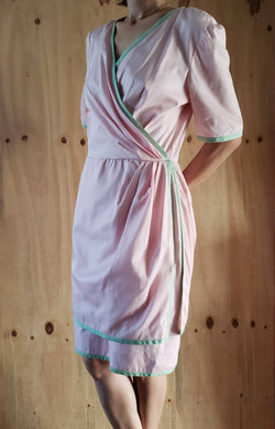 1980s Valentino Italy Pink Cotton Faux-Wrap Mint Trimmed Dress