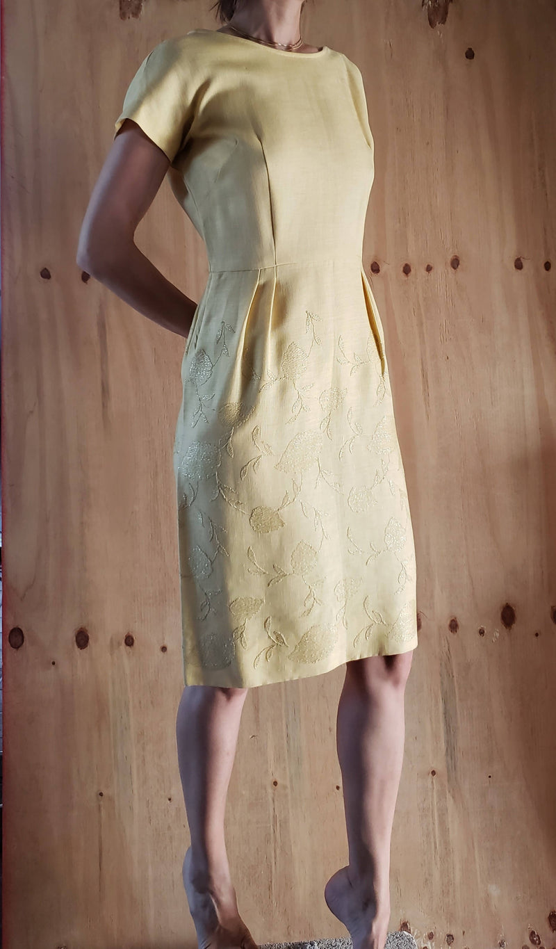 1950s Vintage Never Worn Charles Warner Original Yellow Linen Sheath Dress with Gold Gilded Floral Embroidery