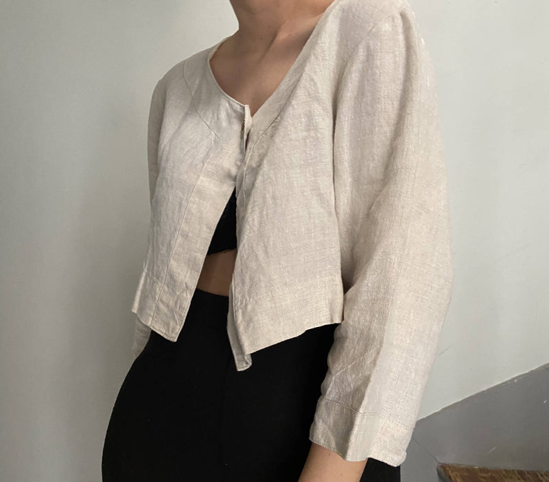 Vintage beige linen waist jacket | Size up to L