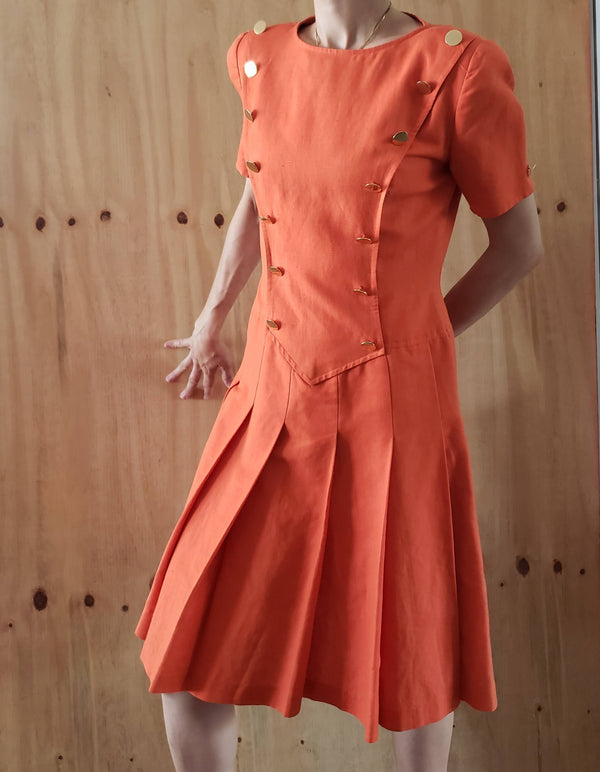 Vintage Miss D Oscar de la Renta sold by Ruth Meyers Oklahoma City Coral Orange Military Pleated Dress 6