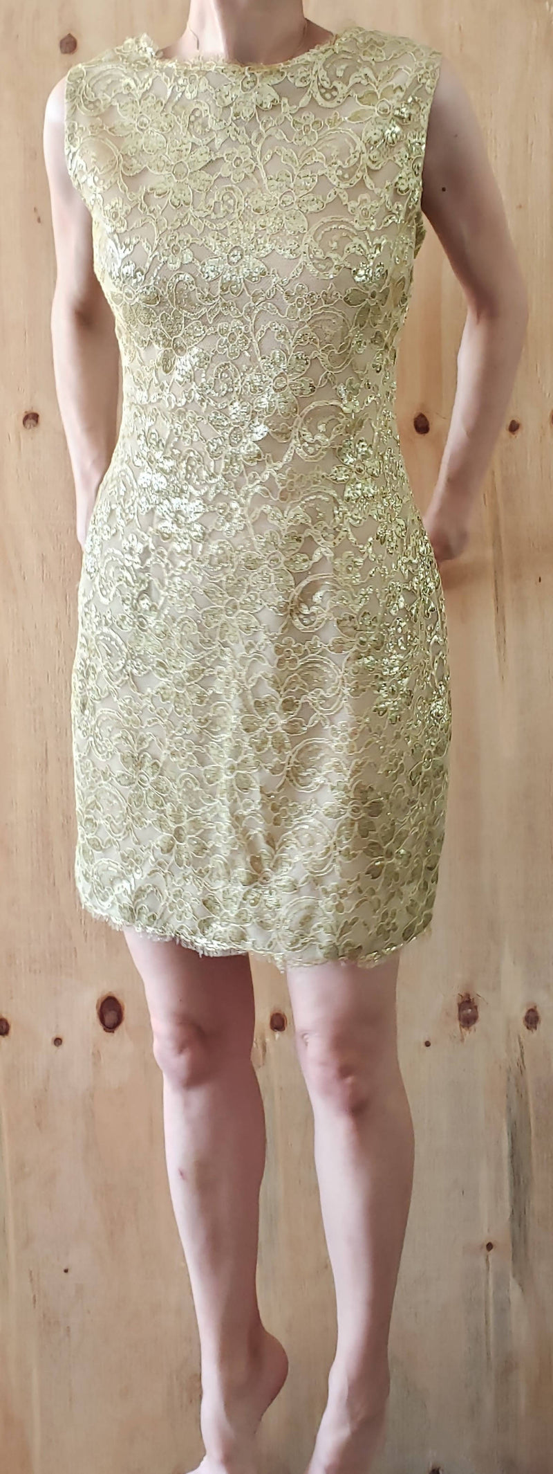 80s Victor Costa Gold Lace Low back Mini Sheath Dress