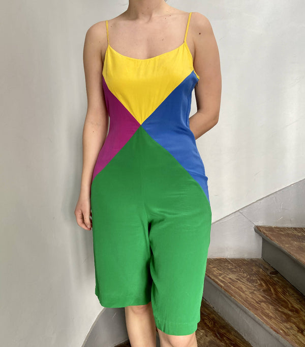 Vintage colorful geometric jumpsuit in silk | Size M