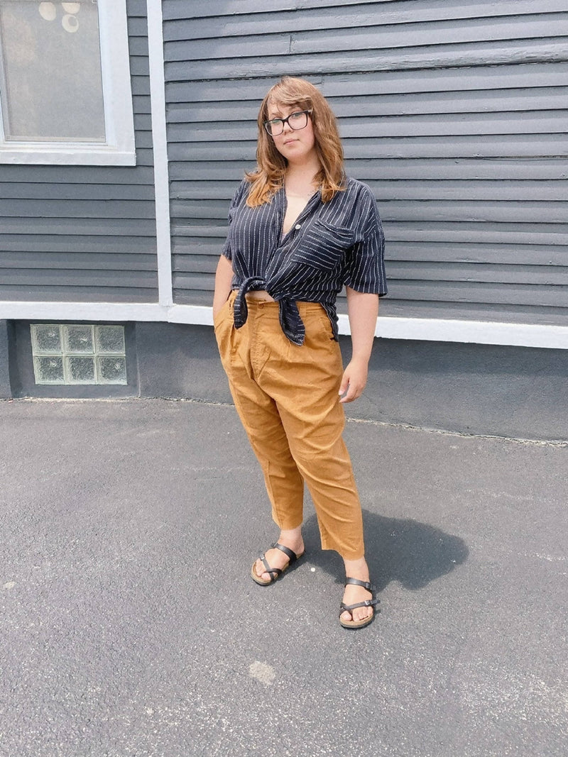1980s Yellow Ochre High-waisted pant Plus Sz US 18