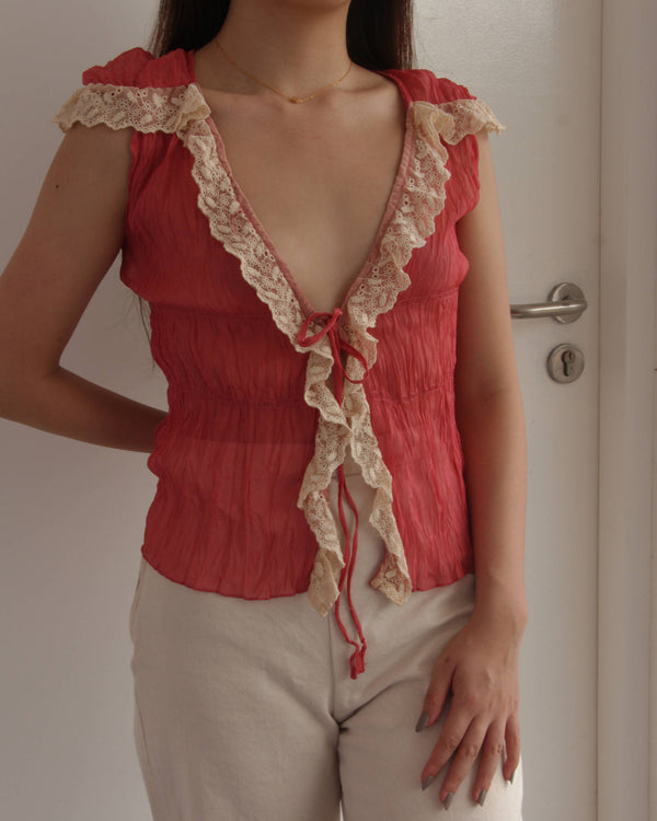 Lacy Coral Crinkle Tie front top