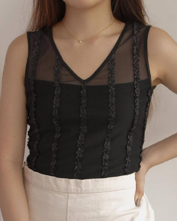 Black Mesh Tank with Ruffle Details