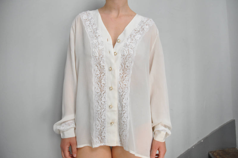 Vintage 80s off-white silk blouse with front embroidered lace & faux pearl details