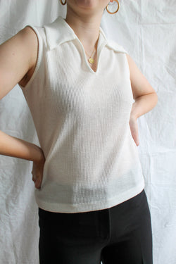 1970's Vintage Collared V-Neck Tank Top