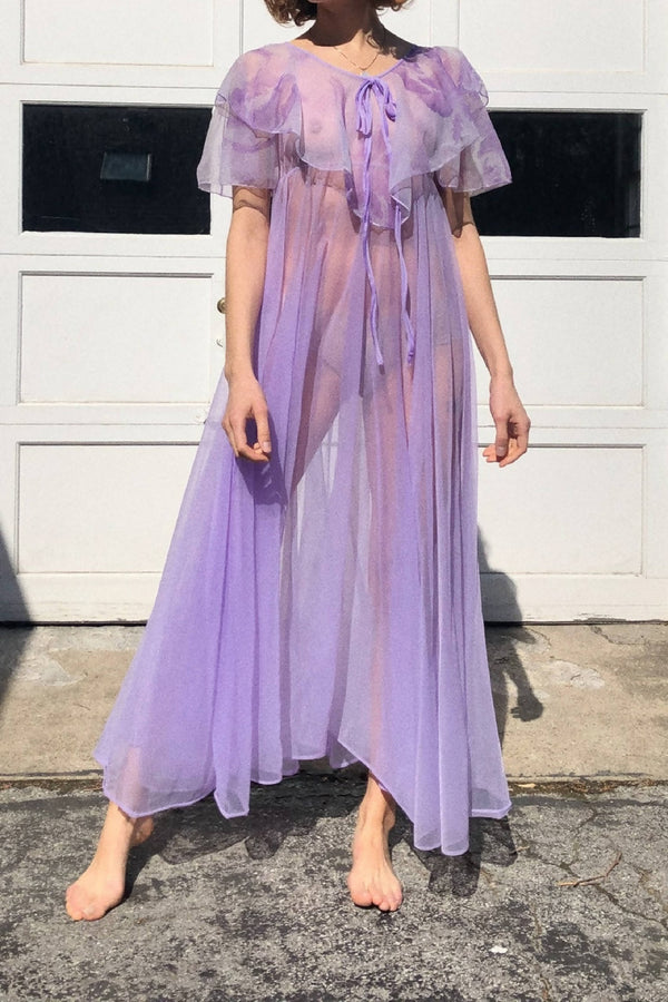 1970s Sheer Lavendar Maxi Dress with Floral Ruffle Print Sz US S