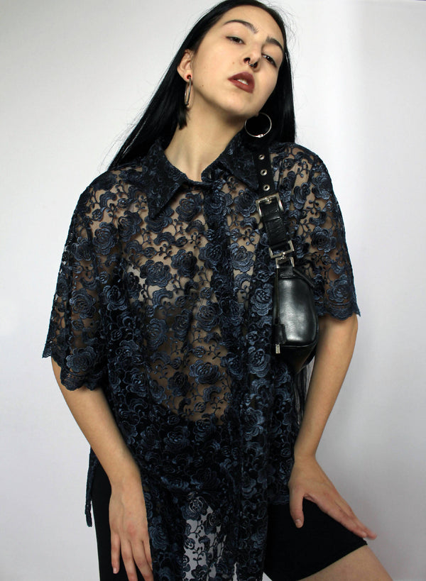 Dark Blue Lace Shirt | XXL