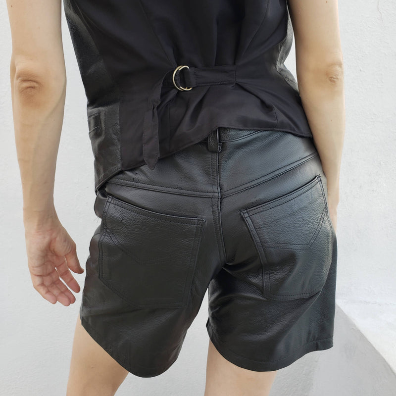Vintage Black Leather Biker Shorts