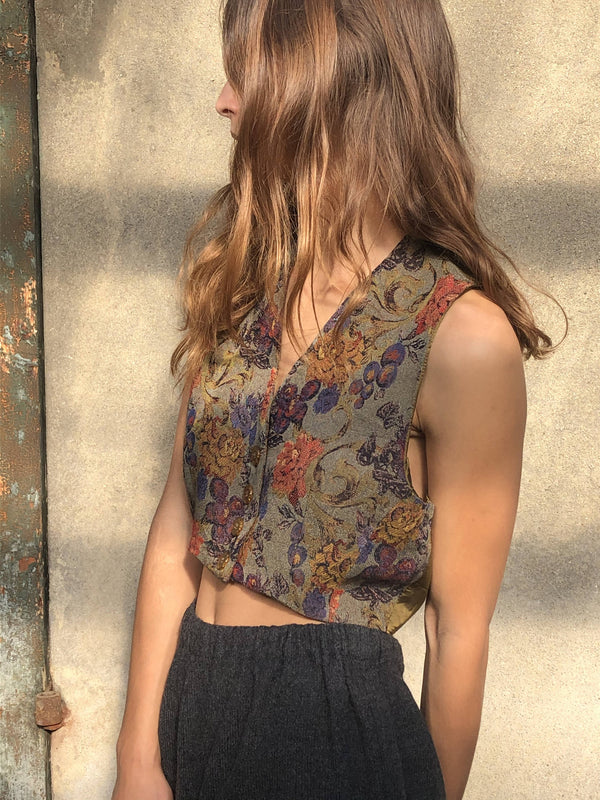 Vintage Cropped Women Bucolic Vest Formal Fitted Romantic Victorian By Imerio Tacchella