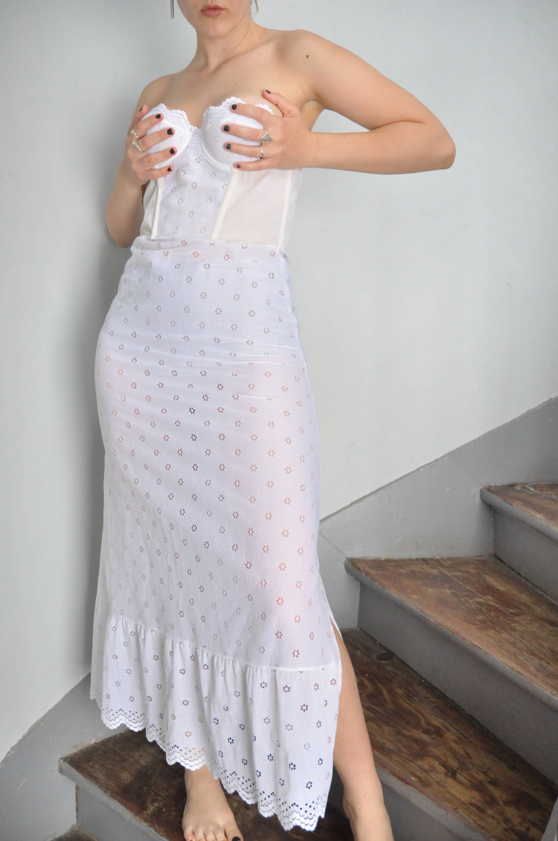 Vintage 50s 60s Lingerie Long Under Dress in White | Size S/M