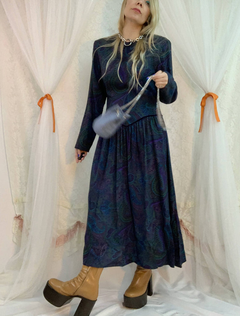 Paisley prairie yoke dress