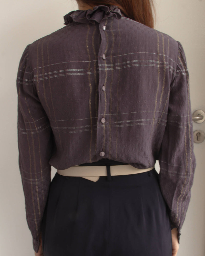 Vintage Valentino Purple Ruffled Collar Blouse