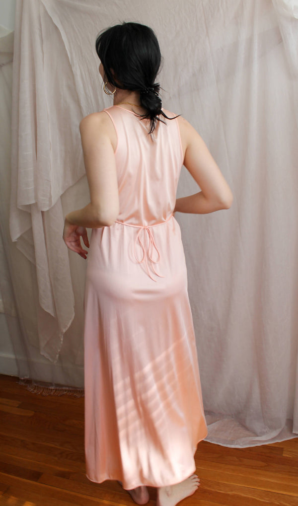 Vintage Peachy Maxi Slip Dress