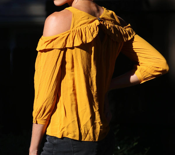 Vintage Yellow Cut Out Shirt
