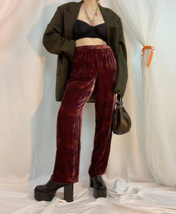 Crushed silk velvet pants