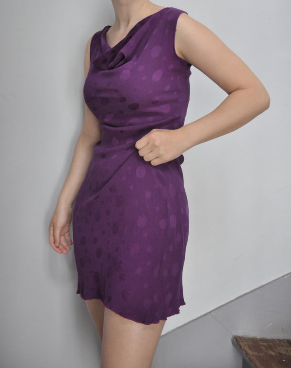 90s silk dress in Byzantium purple with sheer polka dots and cowl neck | Size S/M
