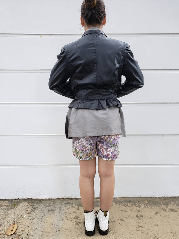 80s Black Corset Leather Jacket