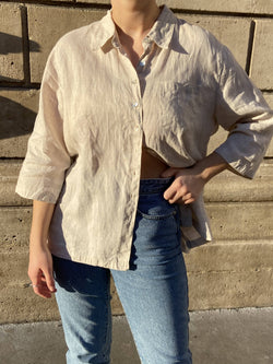 Vintage beige linen blouse with mother-of-pearl buttons | Safari Look - Best fits up to L