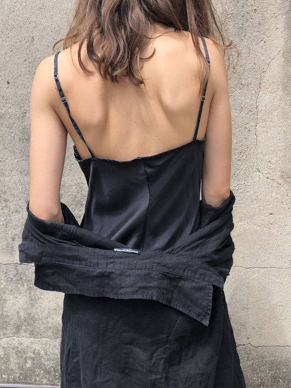 Black silk nightgown dress