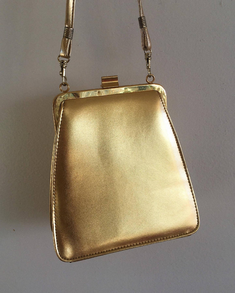 Vintage 1990's Golden Vegan Leather Shoulder Purse