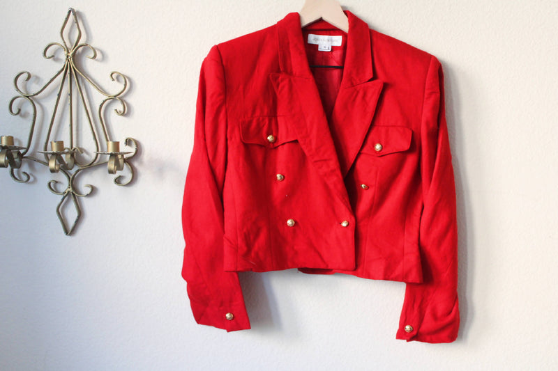 1990s Wool Cropped Red Blazer
