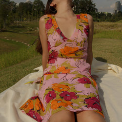 100% Silk Floral Summer Dress