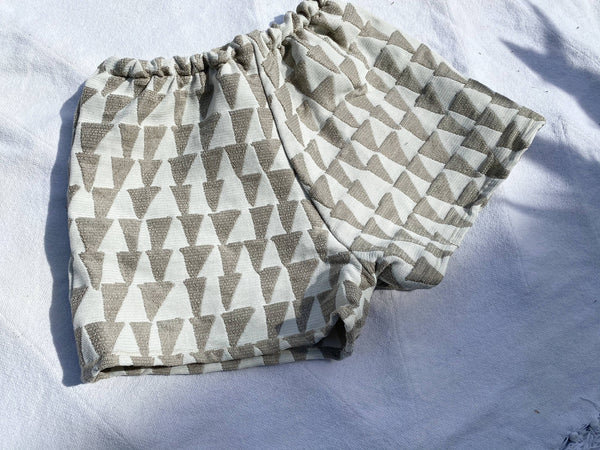 OC002- Neutral Geometric Shorts