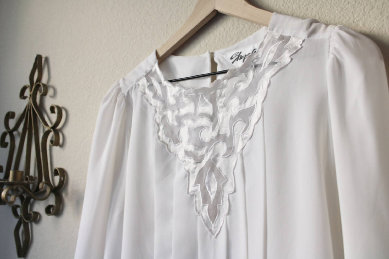 Pleated- Detailed Floral Cutout Chiffon Blouse