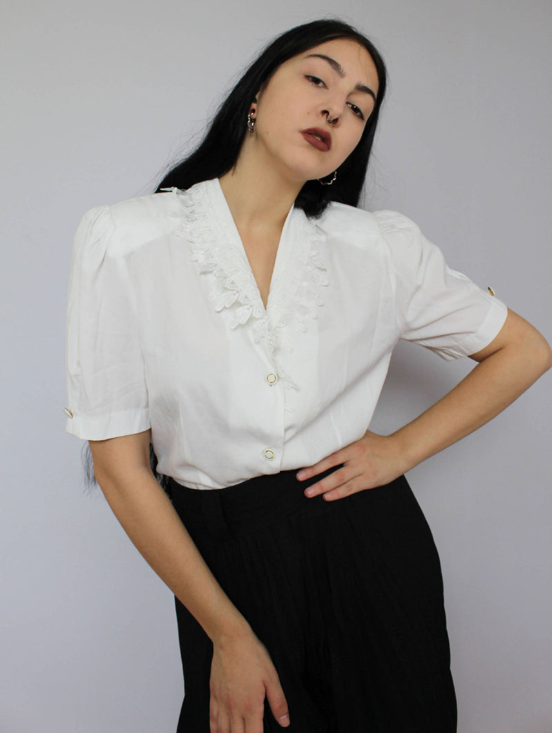 80's Shirt with lace| Large