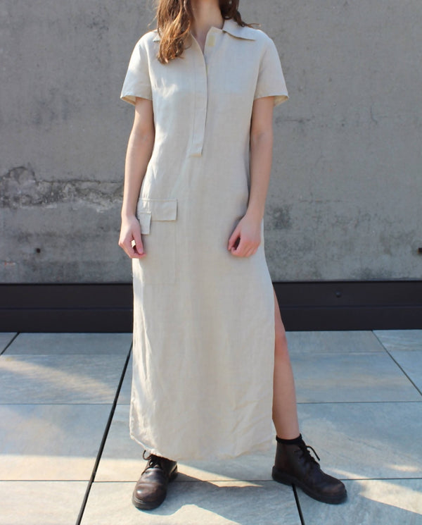 Safari linen soft beige dress