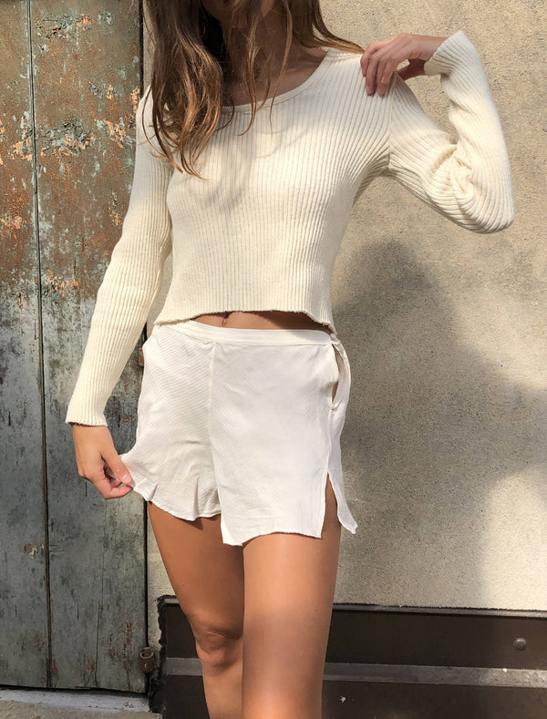 Vintage white silk lingerie shorts by La Charme