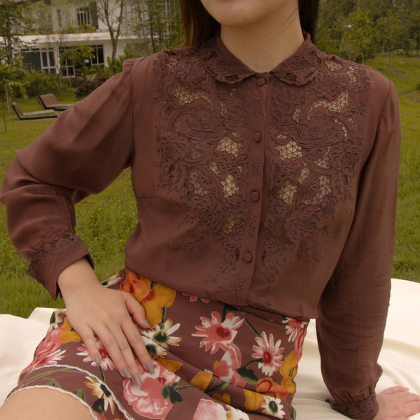 Vintage PEONY Hand Embroidered Brown Silk Blouse