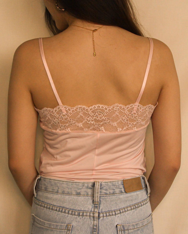 Pink Floral Lace Cami Top