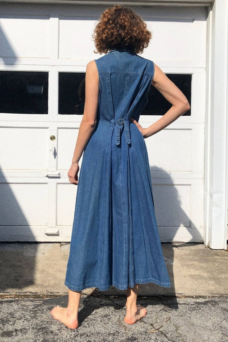 Y2K Denim Maxi Snap Button Dress Sz US M-L