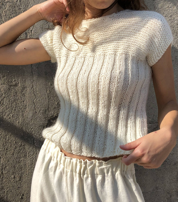 Amazing Vintage White Handmade Cable Knit Minimal 100% Wool Soft Jumper/Sweater Design Art Delicate