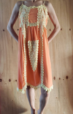1960s 1970s Puerto Rico Vintage Orange Silk Slip Dress with Cream Lace Embellishment