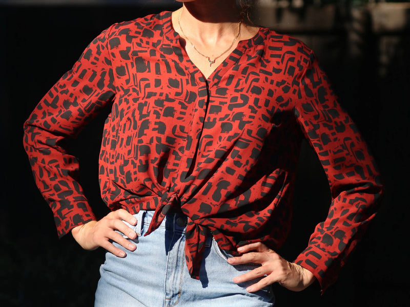 Vintage Red/Black Blouse
