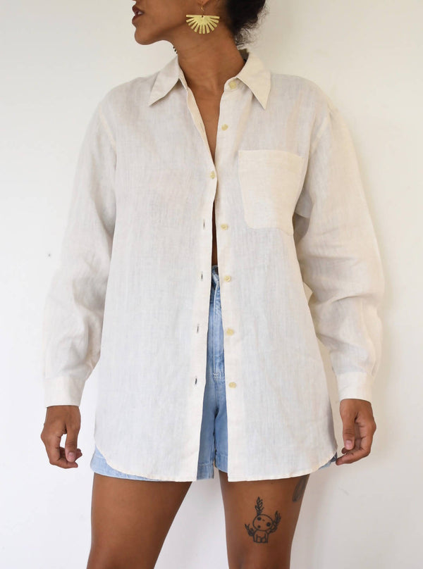 Vintage linen beige button up blouse