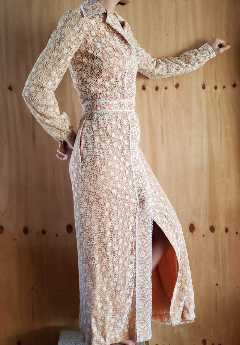 1970s Victor Costa Nude Lined Ivory Lace Front Closure Belted Long Dress 6