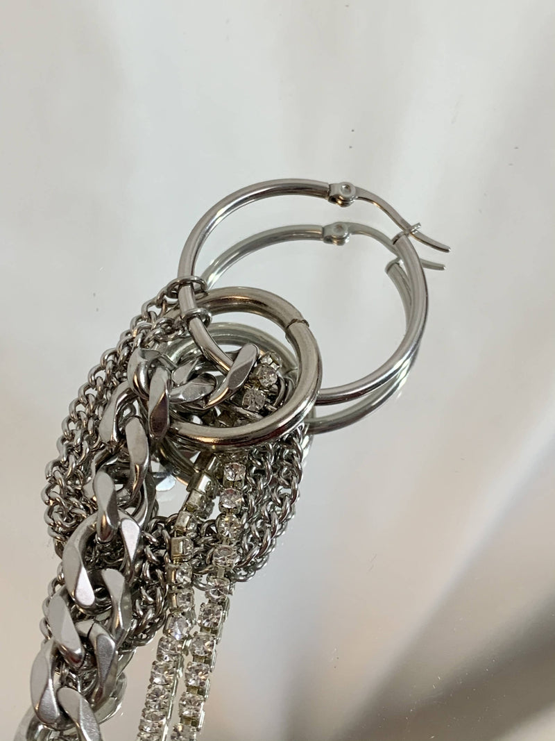 Mixed rhinestone chain hoop
