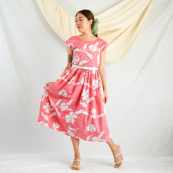 Hibiscus Midi Dress with Pockets