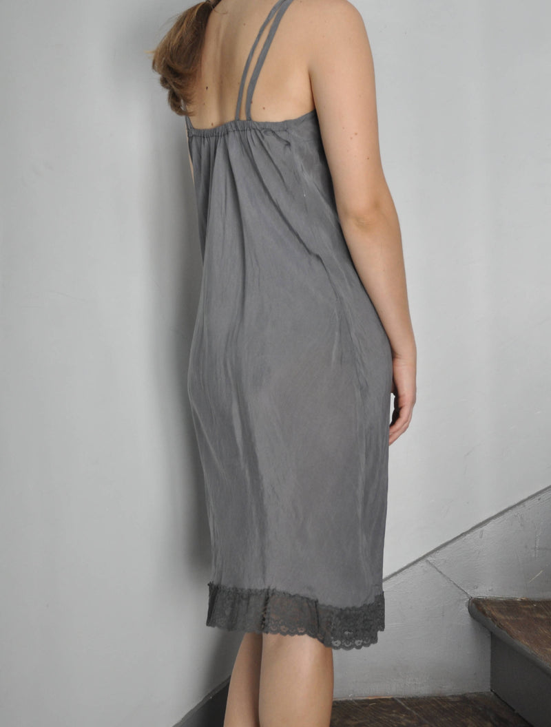Vintage 90s silk & lace grey dress | Size M/L