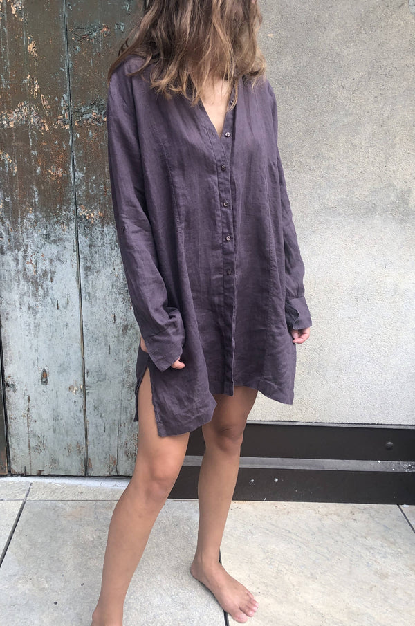 Vintage linen long sleeved 100% linen shirt dress