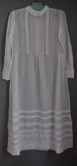 Antique French white Communion dress hand embroidered transparent cotton gaze