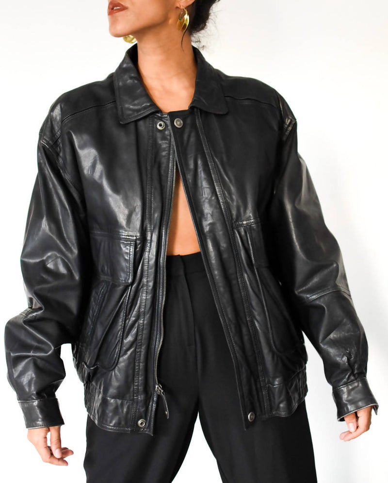 1980's-1990's black leather bomber jacket