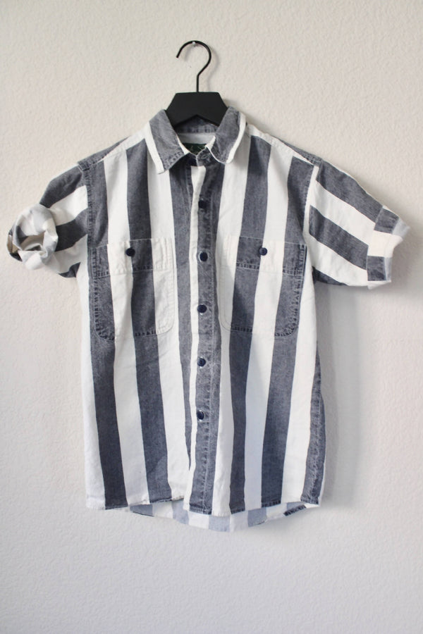 Vintage Deadstock- Grey/White Striped Oxford