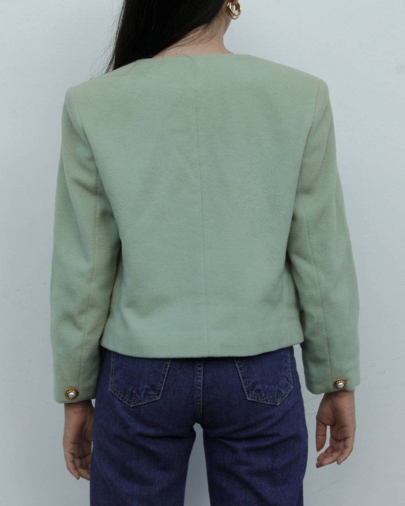 Vintage Longchamp Pistachio Green Wool Blazer with Gold Pearl Buttons